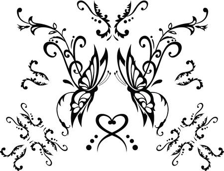 tattoo butterfly: ornamento floreale con farfalla, elemento di design