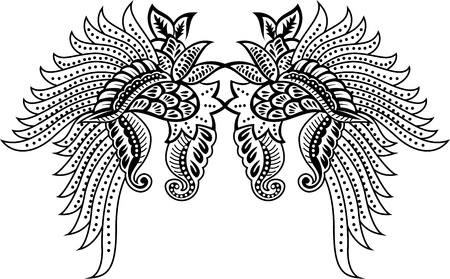 wings with floral Vector