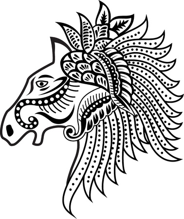 horse drawn: horse head ornament Illustration