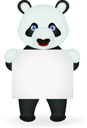 Panda with blank sign Illustration