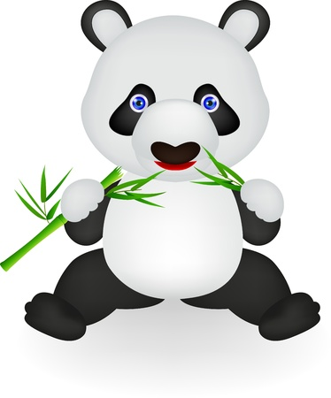 Vector illustration of Funny panda eating bamboo Stock Vector - 16453951