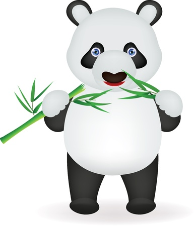 Vector illustration of Funny panda eating bamboo Illustration