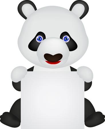 Panda with blank sign Illustration
