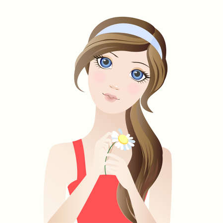 illustration of a girl with a flower Illustration