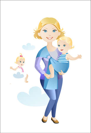 The young woman with the child in a baby sling Stock Vector - 15241589
