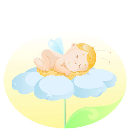 the baby with wings lying on a flower