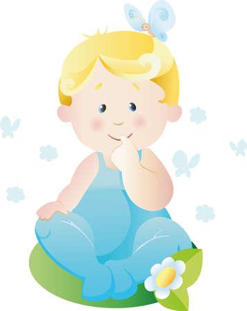 illustration of the child sitting on a grass Illustration