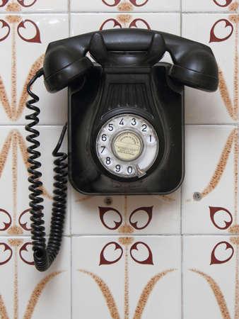 ringer: old black phone Stock Photo