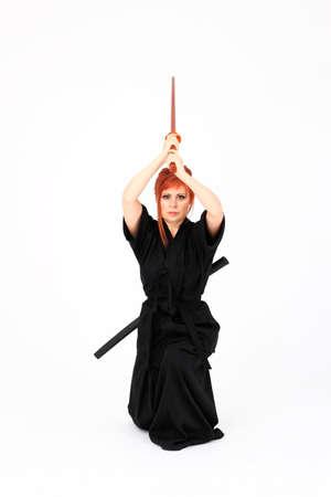 tae kwon do: Woman training Haidong Gumdo, a martial art, Kendo form Stock Photo