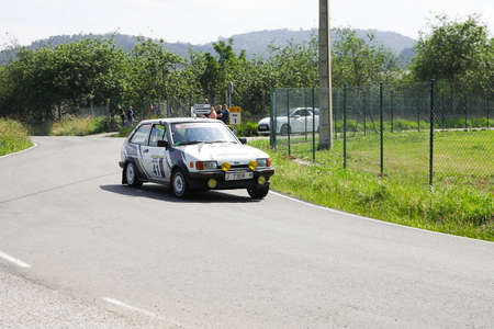 AVILES, SPAIN - JULY 6: Miguel San Agapito drives a Ford Fiesta XR2 during