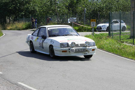 AVILES, SPAIN - JULY 6: Jairo Iglesias drives a Opel Manta GSI car during