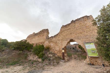 Ocio Castle, on de Lanos Mountain, ruins of a medieval castle of the Kingdom of Navarre in the Inglares Valley, Alava,Vascongadas, Spain.