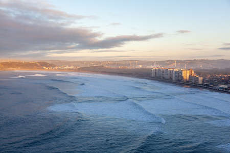 View of Salinas town and beach in Asturias, in northern Spain. Cantabric sea