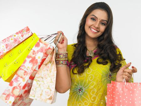 silky: asian woman with shopping bags