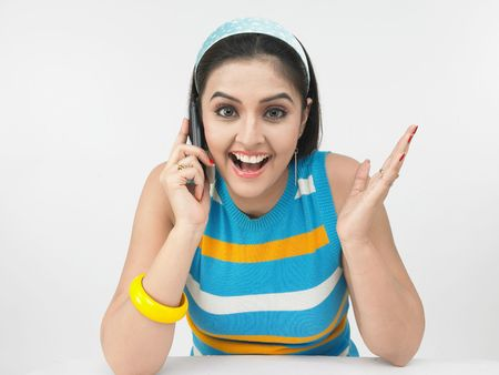 indian blue: asian girl talking on her cell phone