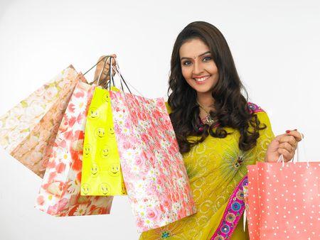 virgin girl: a pretty asian woman with shopping bags