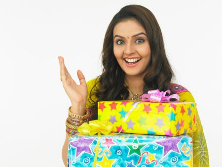 asian female with gift boxes photo