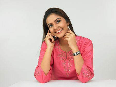 asian female executive on the phone