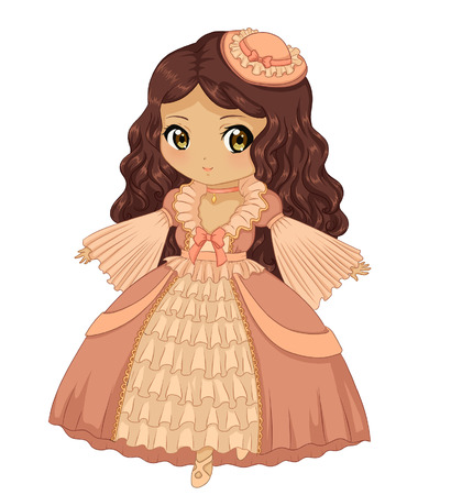 victorian lady: Beautiful dress cute girl drawing