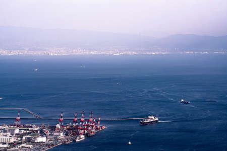 Distant view port island of Kobe Ohashi bridge 스톡 콘텐츠