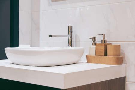 Spacious apartment - Modern wash basin in new bathroom interior
