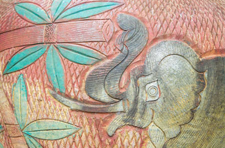 Close-up of traditional handcraft earthenware (patterned pottery elephant.) pattern background texture. Stock Photo