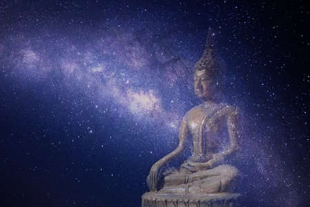 Buddha statue, the Milky Way background