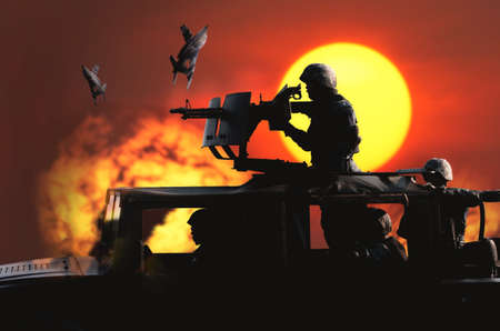 Soldier preparing to aim machine gun mounted on the roof of Humvee. Background of the war scene in which the bomber
