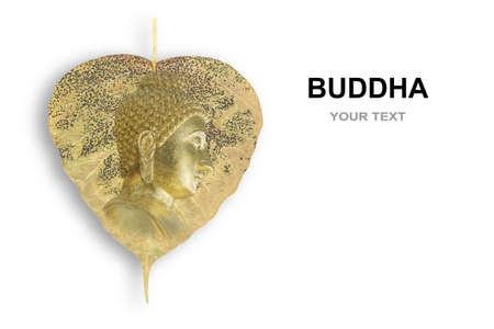 Golden Buddha statue on Ficus religiosa (bai Pho thong), Sacred fig leaf of Bodhi Tree. Important symbols of Buddhism isolated on white background, visahka bucha day