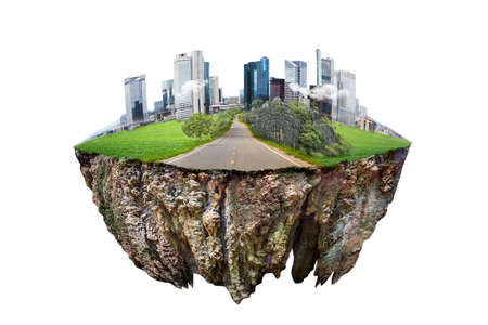 ronde bodemdwarsdoorsnede met aardeland en moderne stad. fantasie drijvend eiland met natuurlijk op de rots, surrealistisch floatlandschap met paradijsconcept geïsoleerd op een witte achtergrond Stockfoto