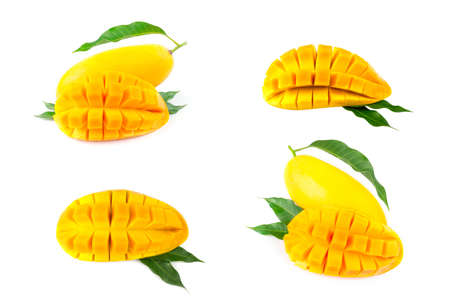 Mango fruit with mango cubes and slices. Isolated on a white background. The collection mango