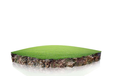 round soil ground cross section with earth land and green grass, realistic circle cutaway terrain floor with rock isolated Reklamní fotografie