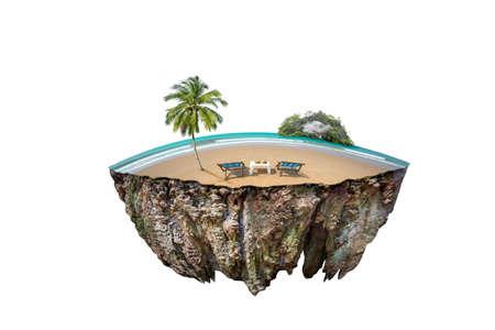 okrągły przekrój ziemi z ziemią. Pusta piaszczysta plaża przed letnim morzem. fantazja pływająca wyspa z naturalnym na białym tle Zdjęcie Seryjne