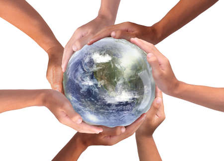 Conceptual symbol of multiracial human hands surrounding the Earth globe. Unity, world peace, humanity concept. World environment day 免版税图像