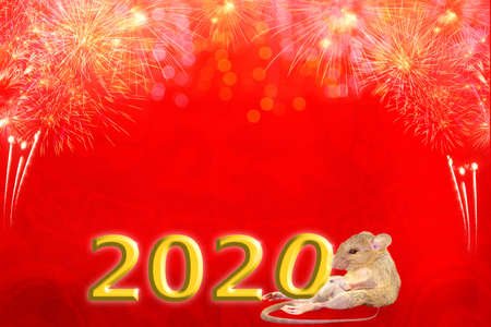 Chinese new year 2020 golden numbers year of the rat , red and  asian elements with craft style on background. Concept for holiday banner template, decor element. Foto de archivo - 133614528