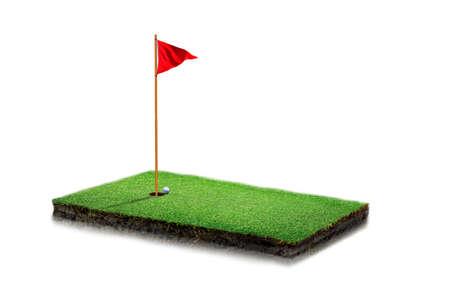 Golfplatz mit einer schönen Landschaft mit sattem Grün. runder Bodenquerschnitt mit Erdland und grünem Gras, realistischer rechteckiger Geländeboden mit isoliertem Felsen