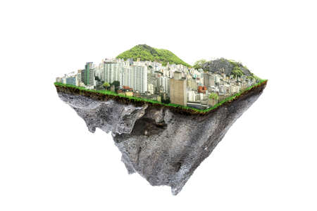round soil ground cross section with earth land and  modern city  . fantasy floating island with natural on the rock, surreal float landscape with paradise concept isolated on white background Foto de archivo - 136021485