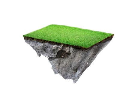 coupe transversale du sol rond avec terre et herbe verte. île flottante fantastique avec naturel sur le rocher, paysage flottant surréaliste avec concept paradisiaque isolé sur fond blanc
