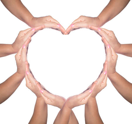 International Human Solidarity Day concept: Human hands in shape of heart on white background Foto de archivo - 136021537