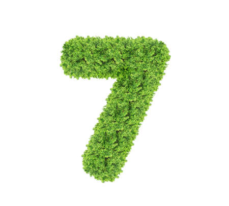 Grass number Seven isolated on white background. Symbol 7 with the green lawn texture. Eco symbol collection. Foto de archivo