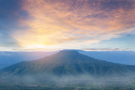 Phu Pa Po,Big mountain and beautiful sunset background at Loey province of Thailand, Fuji mountain of Thailand.