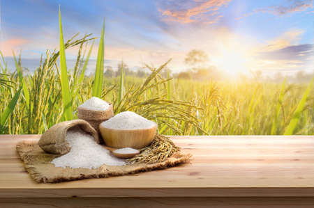 Asian uncooked white rice with the sunset rice field background and burlap sack on wooden table. rice grains healthy food