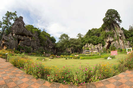 Pha Ngam Stone Gardens park or Garden rocks Kunming for tourism with rock mountain background, Nonghin Loei Thailand,
