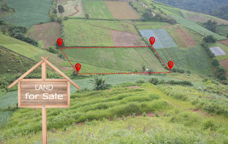 Land plot or land lot. Consist of aerial view of green field, position point and boundary line to show location and area.