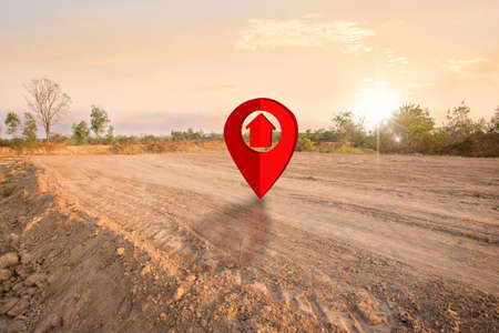 piece of land for sale with pin icon, land plot for housing construction project with car tire print in rural area and real estate sale or property investment concept, Buying new home for family.