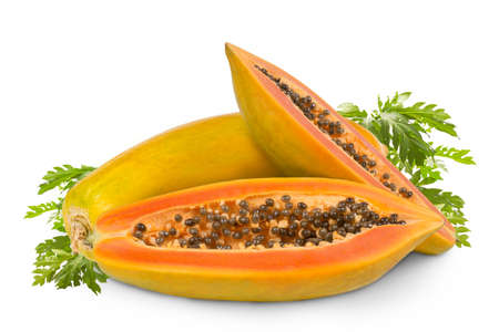 whole and half of ripe papaya fruit with green leaf isolated on white background. Tropical nature fruits summer concept 版權商用圖片