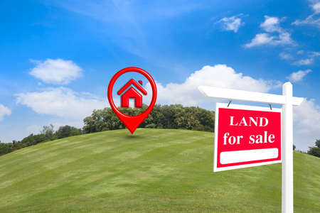 House symbol with location pin icon on earth and green grass in real estate sale or property investment concept, Buying new home for family.