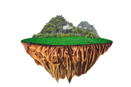 round soil ground cross section with earth land and green grass.  fantasy floating island with natural on the rock, surreal float landscape with paradise concept isolated on white background 版權商用圖片