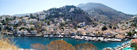 dodecanese: Picturesque panorama of Symi port. Dodecanese. Greece Stock Photo