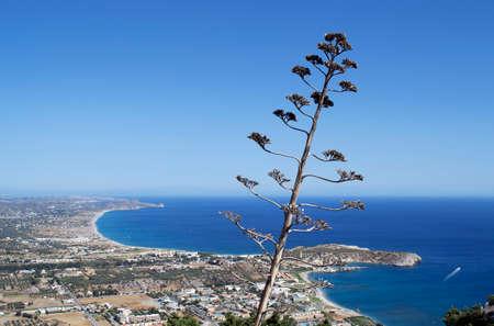 tsampika: Aerial view from Tsambika mountain to Afantou beach. Rhodes, Greece. Stock Photo